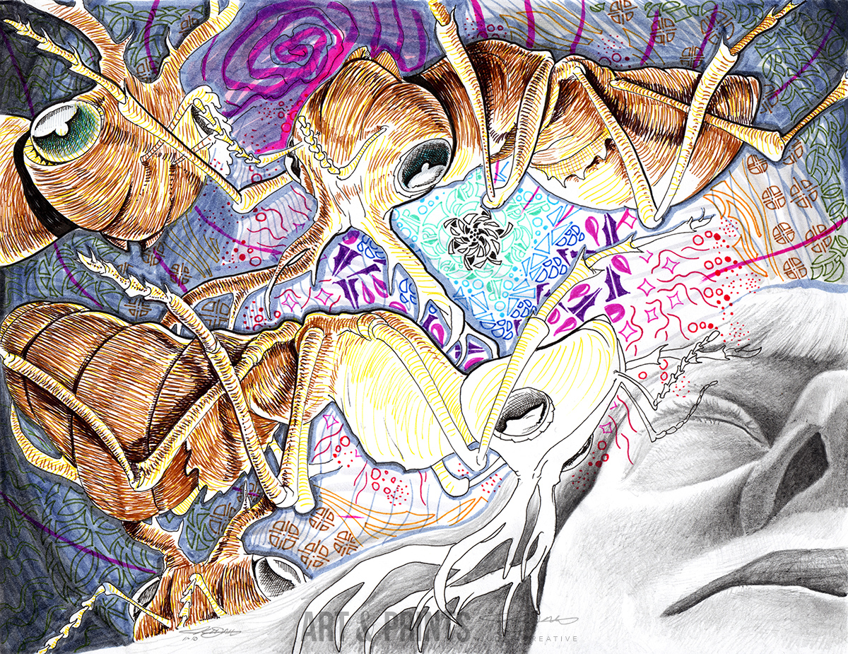 Ant Dream by Judah Fansler. Mixed media, graphite, ink pens, marker