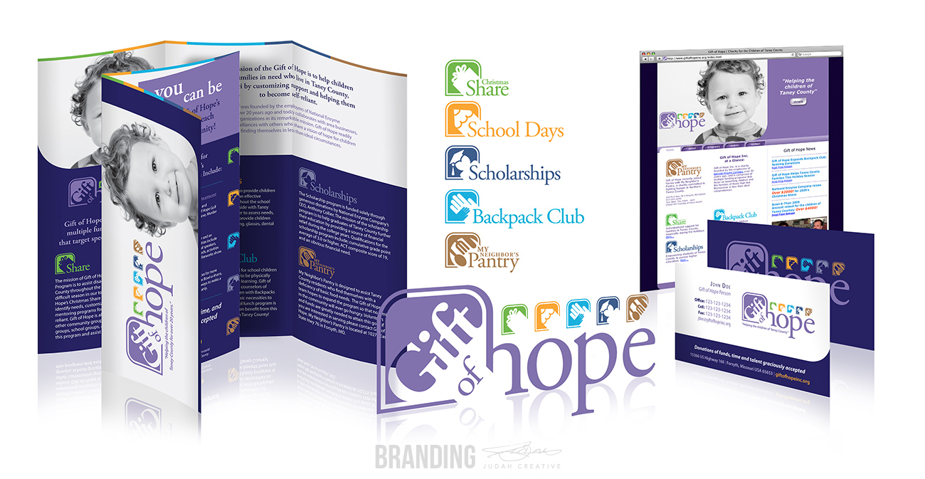 Charity Branding & Design by Judah Creative (Branson, MO - Springfield, MO). Logo and subset logos design, business card design, brochure design, website design.