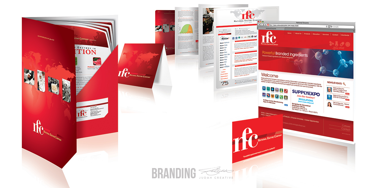Corporate Branding by Judah Creative (Branson, MO - Springfield, MO). Business card design, flyer design, folder design, technical info sheet design, rack card design, website design