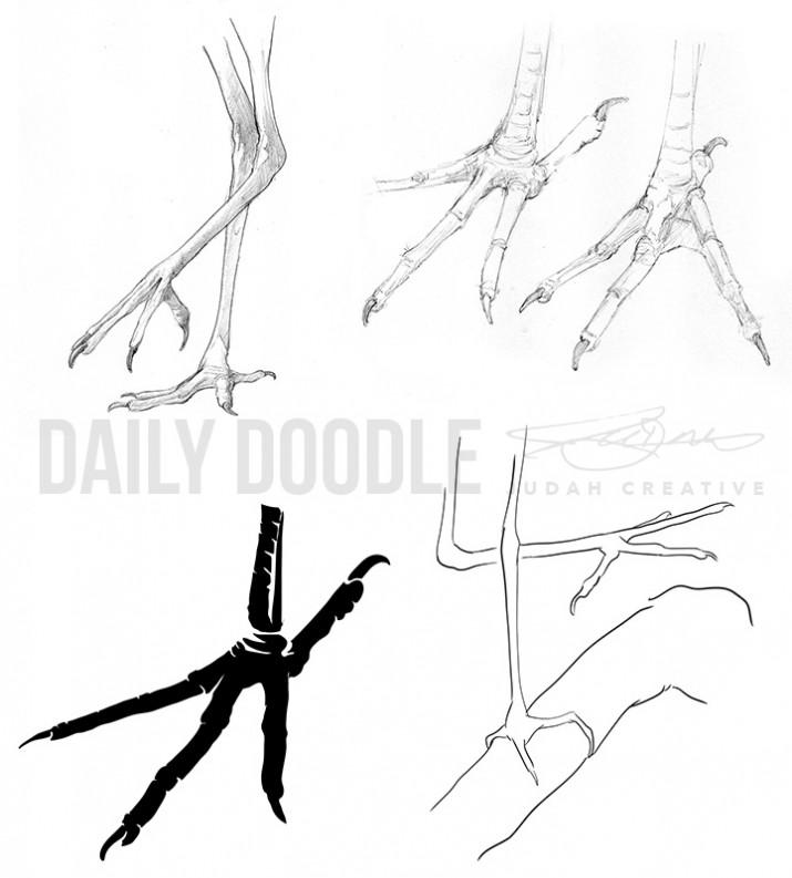 Four Views of Egret Feet