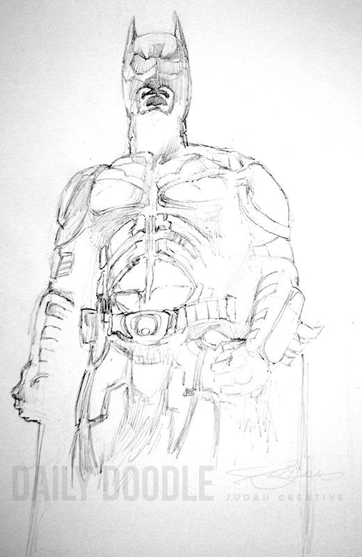 Dark Knight Pencil Sketch by Judah Fansler (Yet another Daily Doodle) - Design Ninja, Artist, Owner at Judah Creative, a Graphic Design & Illustraiton Studio near Branson & Springfield, MO.