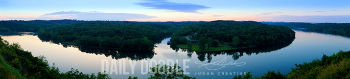 Lake Taneycomo: Panoramic Photo from Forsyth, MO by Judah Fansler (Yet another Daily Doodle) - Design Ninja, Artist, Owner at Judah Creative, a Graphic Design & Illustraiton Studio near Branson & Springfield, MO.