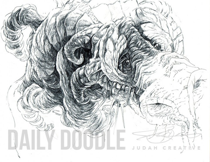 Lonely Power: Dragon Illustration - Phase 1 by Judah Fansler (Yet another Daily Doodle) - Design Ninja, Artist, Owner at Judah Creative, a Graphic Design & Illustraiton Studio near Branson & Springfield, MO.