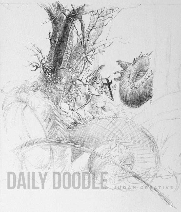 St George & The Dragon: John Howe Study: Phase 3: Detail by Judah Fansler – Artist, Designer, Owner at Judah Creative: Graphic Design & Illustration studio near Branson and Springfield, MO.