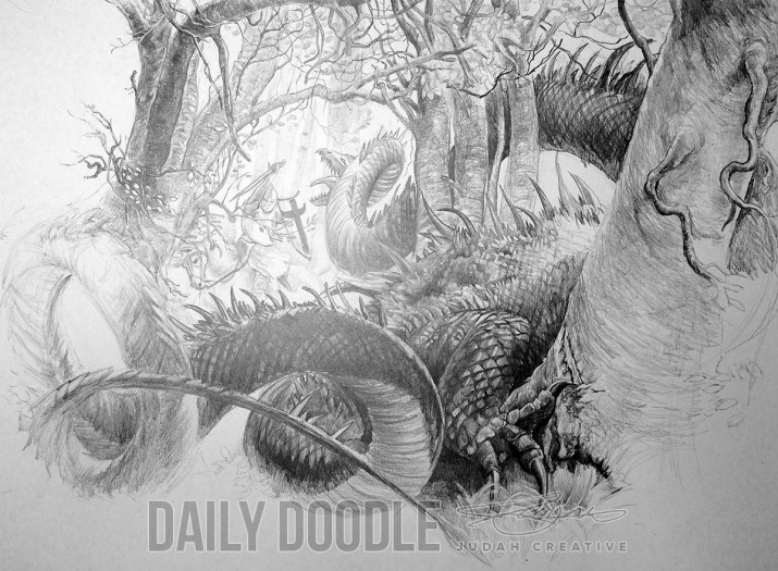 St. George & The Dragon: John Howe Study: Phase 8