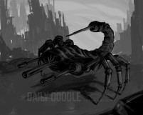 110713 Photoshop Painting Value Study: Scorpion Machine by Judah Fansler, Artist & Owner at Judah Creative, a full service graphic design & Illustration studio near Branson, MO & Springfield, MO
