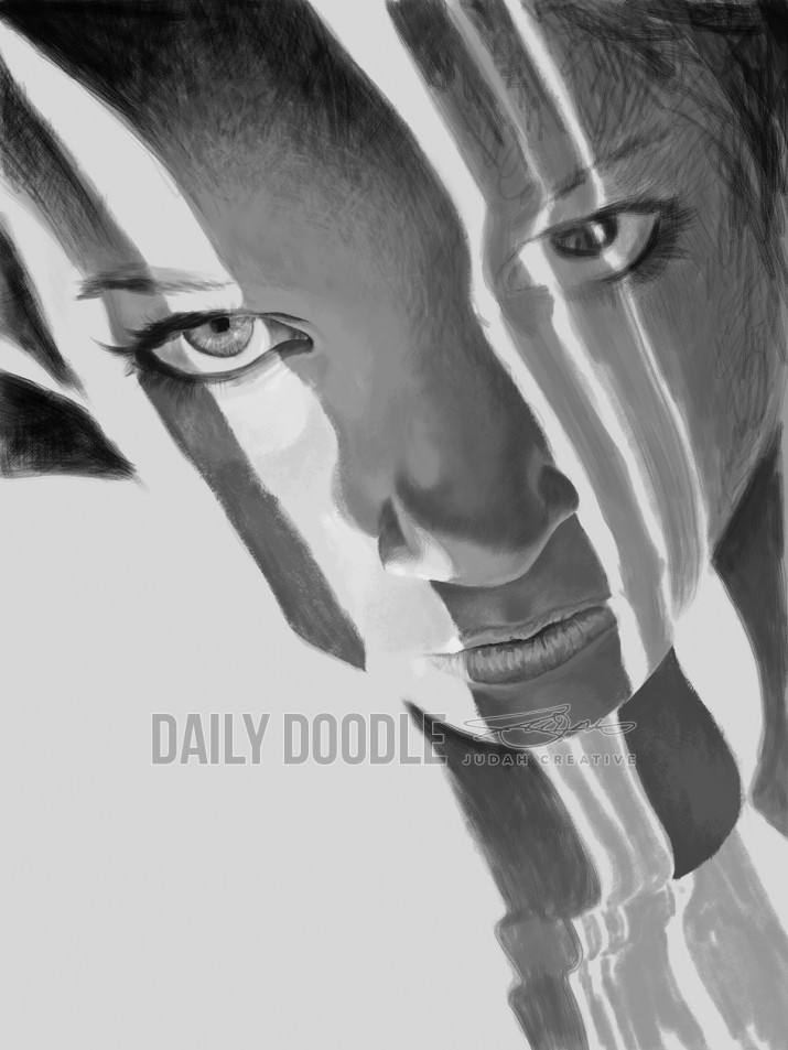 121113 Digital Painting #3 - Face, Light & Dark - PHASE 2 by Judah Fansler, Artist & Owner at Judah Creative, a full service graphic design & Illustration studio near Branson, MO & Springfield, MO