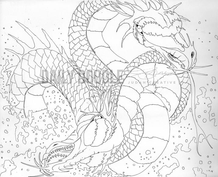 010914 Twin Headed Sea Dragon by Judah Fansler, Artist & Owner at Judah Creative, a full service graphic design & Illustration studio near Branson, MO & Springfield, MO