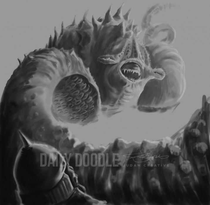 011314 Sea Monster: Digital Painting: phase 2 by Judah Fansler, Artist & Owner at Judah Creative, a full service graphic design & Illustration studio near Branson, MO & Springfield, MO
