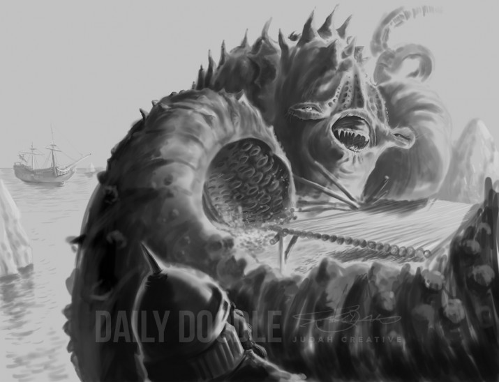 011314 Sea Monster: Digital Painting Phase 3 by Judah Fansler, Artist & Owner at Judah Creative, a full service graphic design & Illustration studio near Branson, MO & Springfield, MO