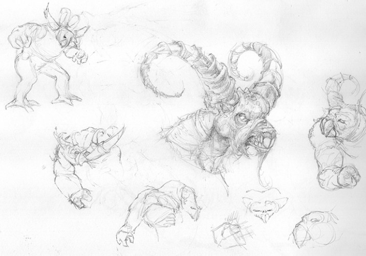100614 Demon Legend Pencil Sketches by Judah Fansler, Artist and Design Ninja at Judah Creative